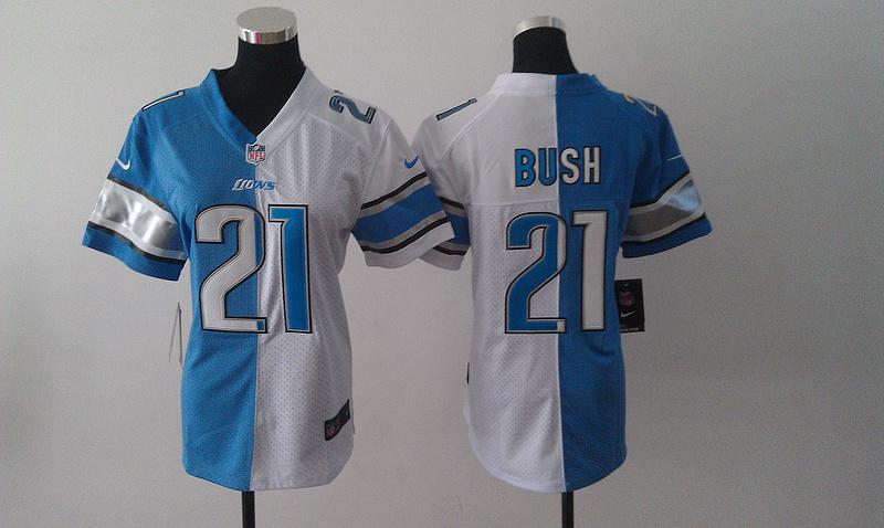 Womens Detroit Lions 21 Reggie Bush Blue White Nike Elite Split Jersey
