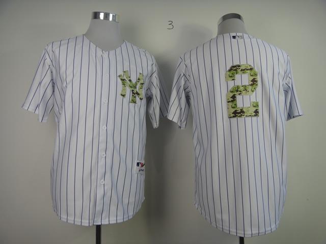 MLB New York Yankees 2 Jeter White Camo 2013 USMC Home Jersey