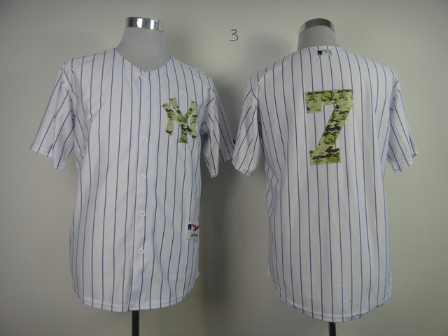 MLB New York Yankees 7 Mantle White Camo 2013 USMC Home Jersey