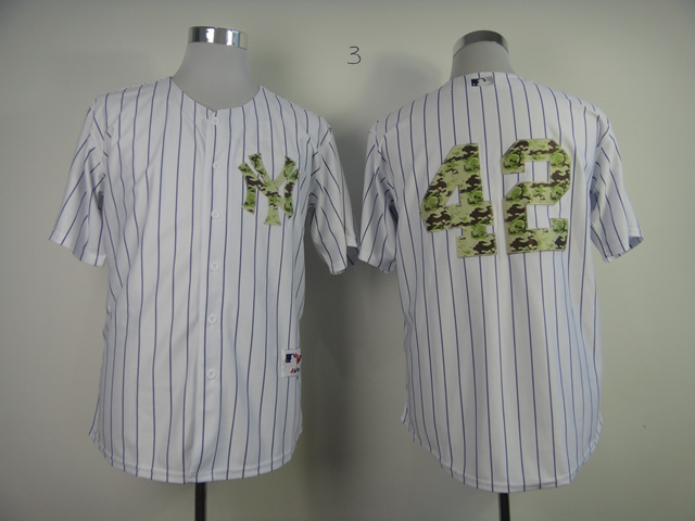 MLB New York Yankees 42 Rivera White Camo 2013 USMC Home Jersey