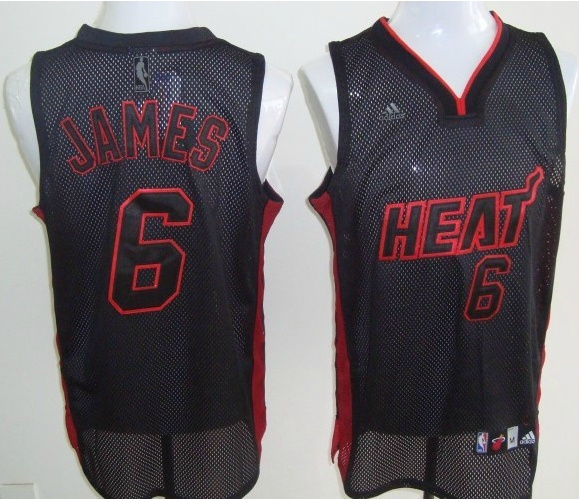 NBA Miami Heat 6 Lebron James black Lights out jersey