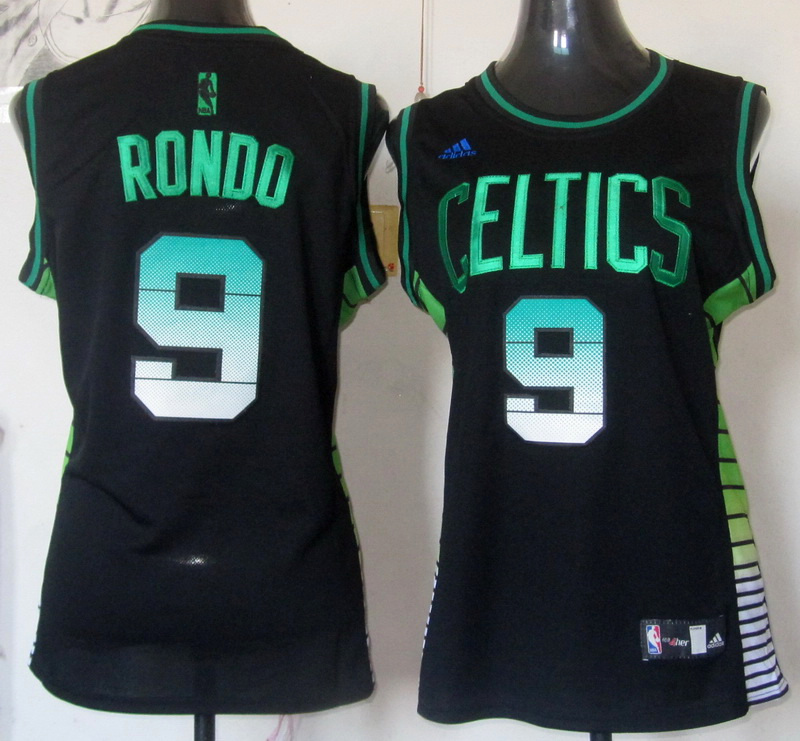 NBA Womens Boston Celtics 9 Rajon Rondo 2013 new black fashion rev 30 jersey
