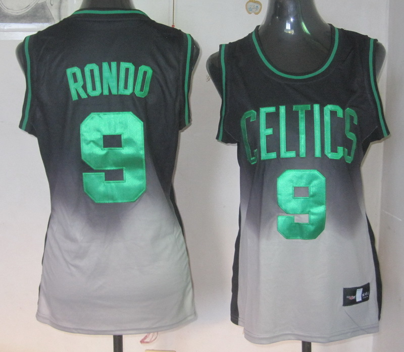 NBA Womens Boston Celtics 9 Rajon Rondo grey black fashion jersey