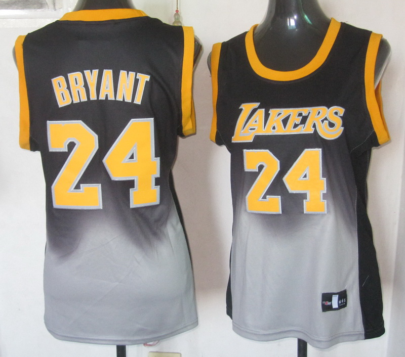 NBA Womens Los Angeles Lakers 24 Kobe Bryant 2013 new black grey jersey