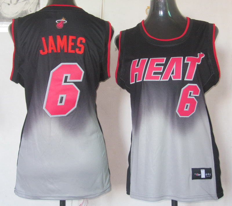 NBA Womens Miami Heat 6 Lebron James 2013 new black grey jersey