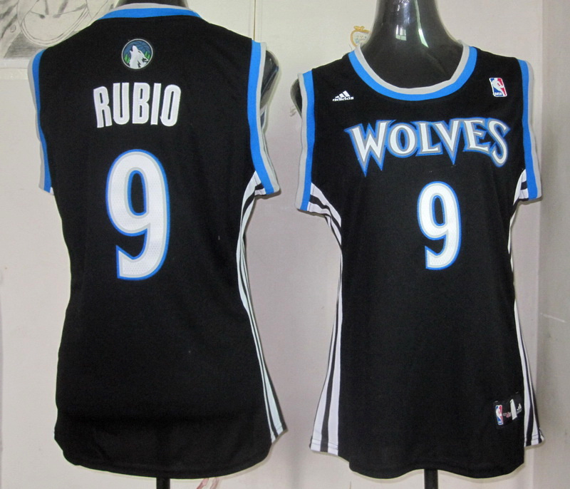 NBA Womens Minnesota Timberwolves 9 Richy Rubio revolution 30 black jersey