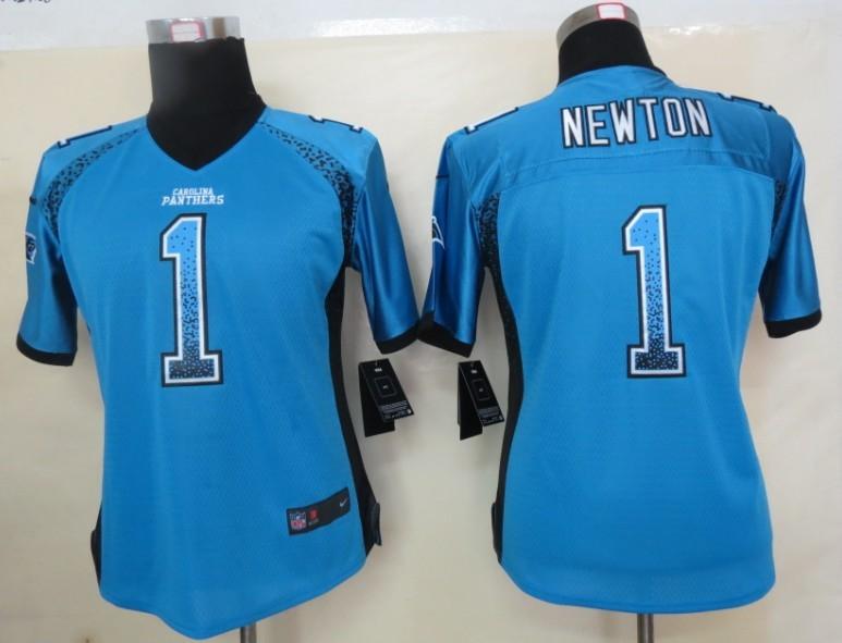 Women 2013 NEW Nike Carolina Panthers 1 Newton Drift Fashion Blue Elite Jerseys