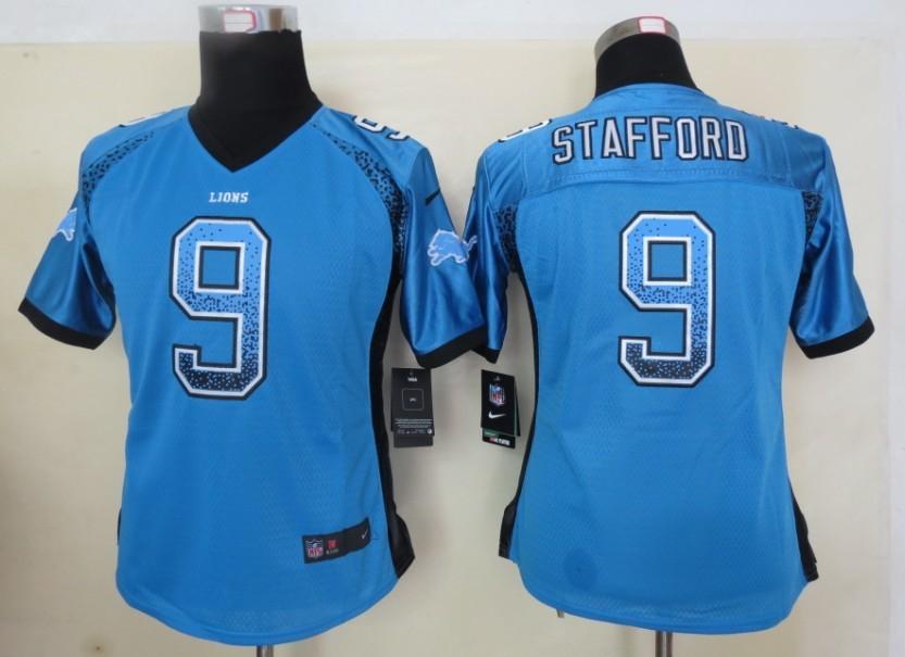 Women 2013 New Nike Detroit Lions 9 Stafford Drift Fashion Blue Elite Jerseys
