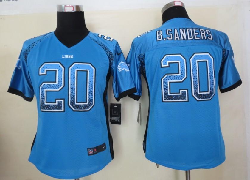 Women 2013 New Nike Detroit Lions 20 B.Sanders Drift Fashion Blue Elite Jerseys