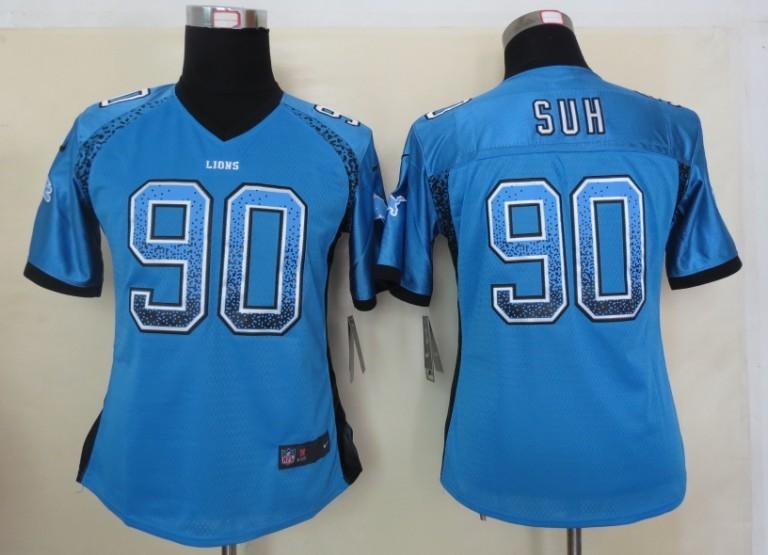 Women 2013 New Nike Detroit Lions 90 Suh Drift Fashion Blue Elite Jerseys