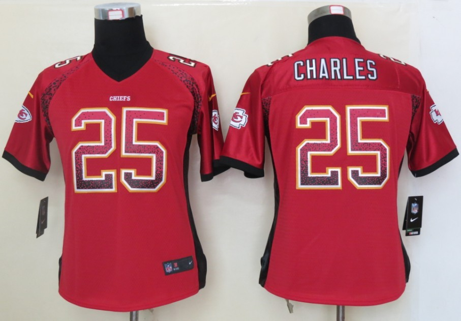 Women 2013 NEW Nike Kansas City Chiefs 25 Charles Drift Fashion Red Elite Jerseys