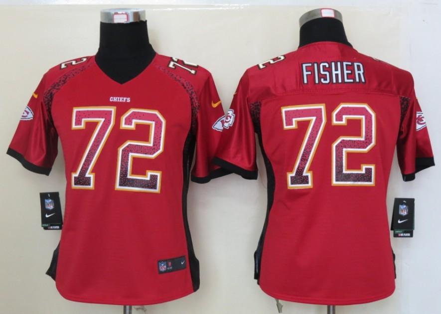 Women 2013 NEW Nike Kansas City Chiefs 72 Fisher Drift Fashion Red Elite Jerseys