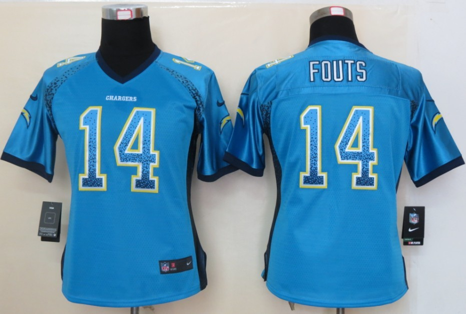Women 2013 NEW Nike San Diego Charger 14 Fouts Drift Fashion Blue Elite Jerseys