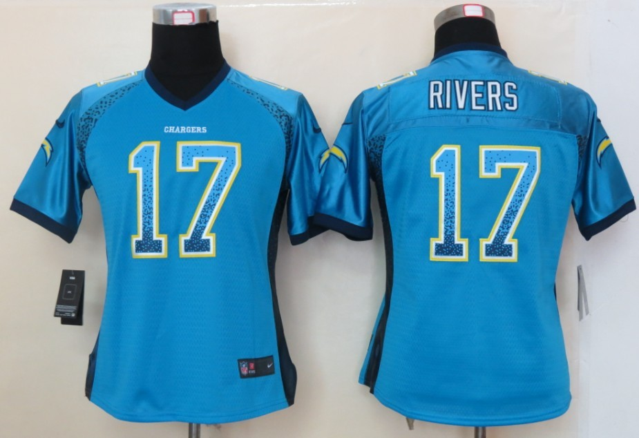 Women 2013 NEW Nike San Diego Charger 17 Rivers Drift Fashion Blue Elite Jerseys