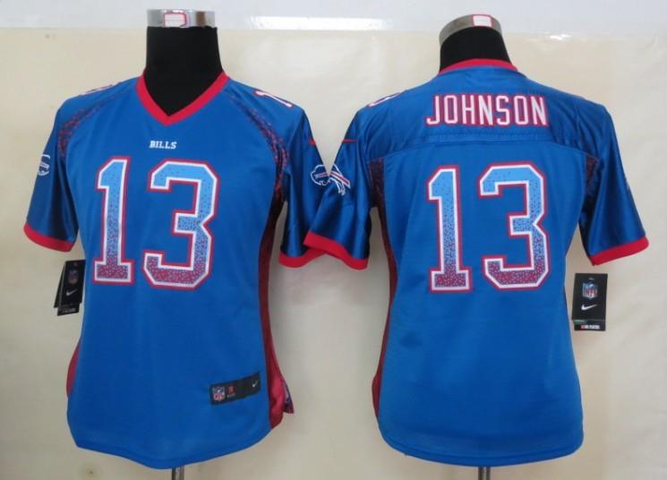 Women 2013 New Nike Buffalo Bills 13 Johnson Drift Fashion Blue Elite Jerseys