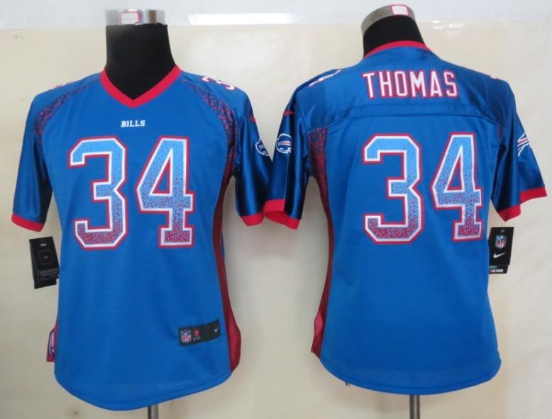 Women 2013 New Nike Buffalo Bills 34 Thomas Drift Fashion Blue Elite Jerseys