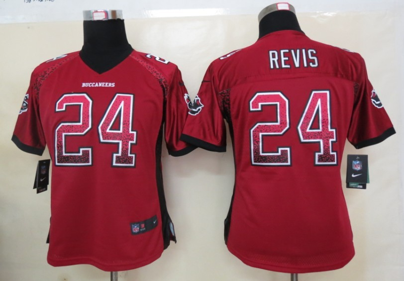 Women 2013 New Nike Tampa Bay Buccaneers 24 Revis Drift Fashion Red Elite Jerseys