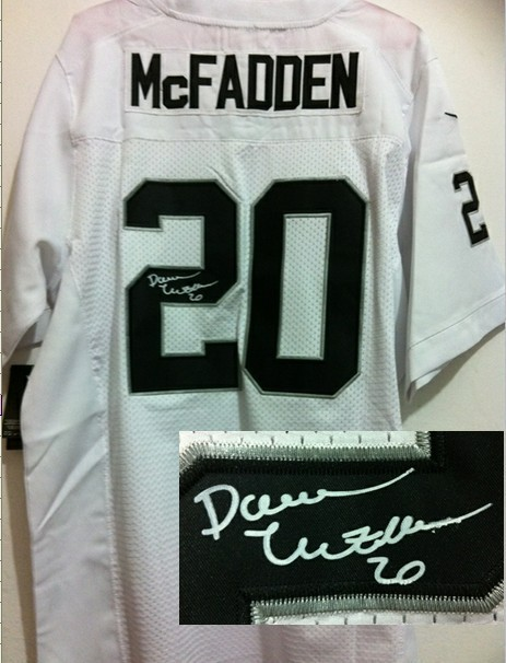Oakland Raiders 20 Darren McFadden White Nike Elite With player signed Jersey