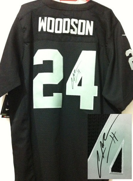 Oakland Raiders 24 Charles Woodson Black Nike Elite With player signed Jersey