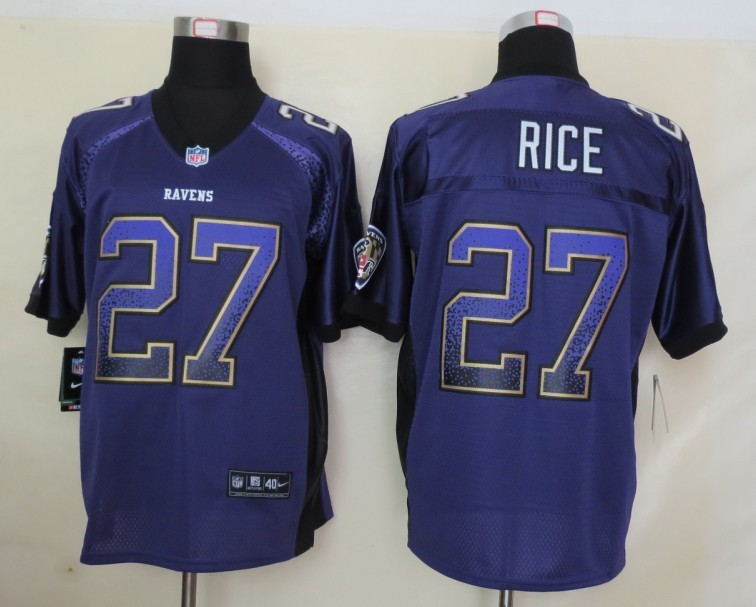 2013 NEW Nike Baltimore Ravens 27 Rice Drift Fashion Purple Elite Jerseys