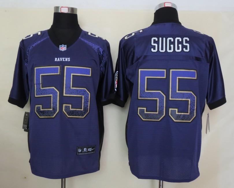 2013 NEW Nike Baltimore Ravens 55 Suggs Drift Fashion Purple Elite Jerseys