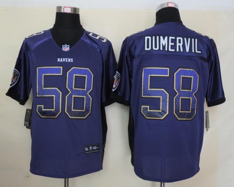 2013 NEW Nike Baltimore Ravens 58 Dumervil Drift Fashion Purple Elite Jerseys