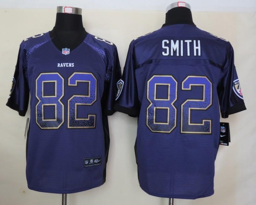 2013 NEW Nike Baltimore Ravens 82 Smith Drift Fashion Purple Elite Jerseys