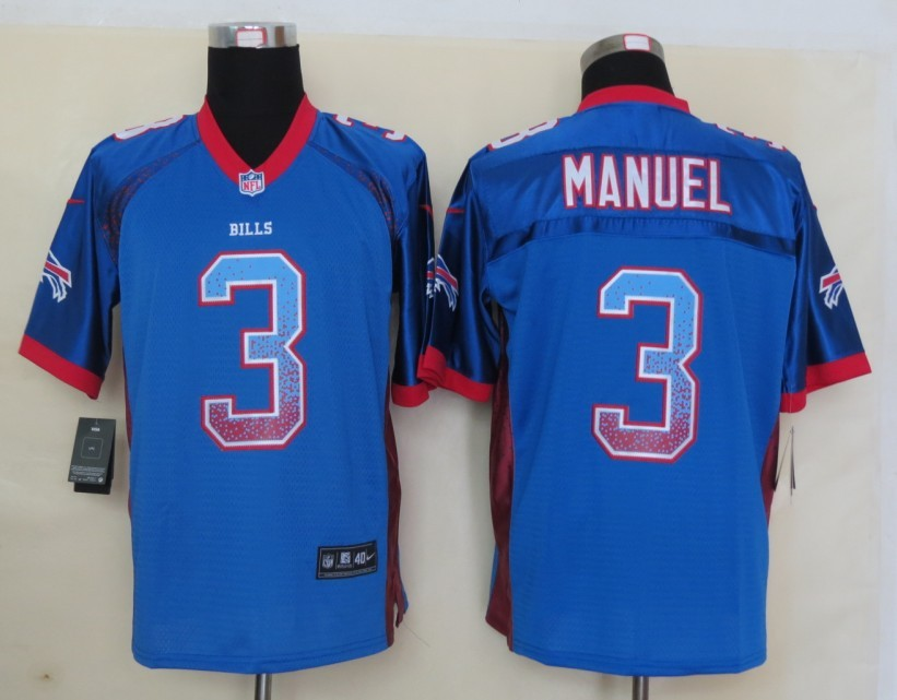 2013 New Nike Buffalo Bills 3 Manuel Drift Fashion Blue Elite Jerseys