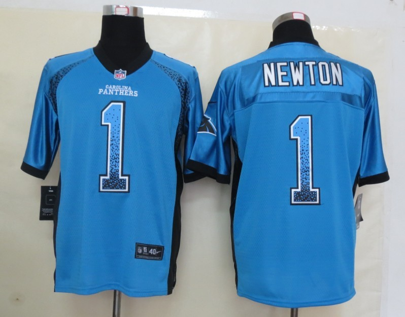 2013 NEW Nike Carolina Panthers 1 Newton Drift Fashion Blue Elite Jerseys