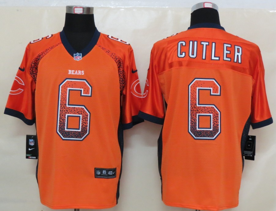 2013 NEW Nike Chicago Bears 6 Cutler Drift Fashion Orange Elite Jerseys