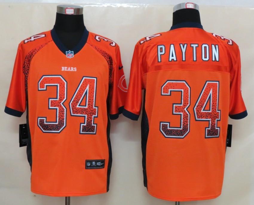 2013 NEW Nike Chicago Bears 34 Payton Drift Fashion Orange Elite Jerseys