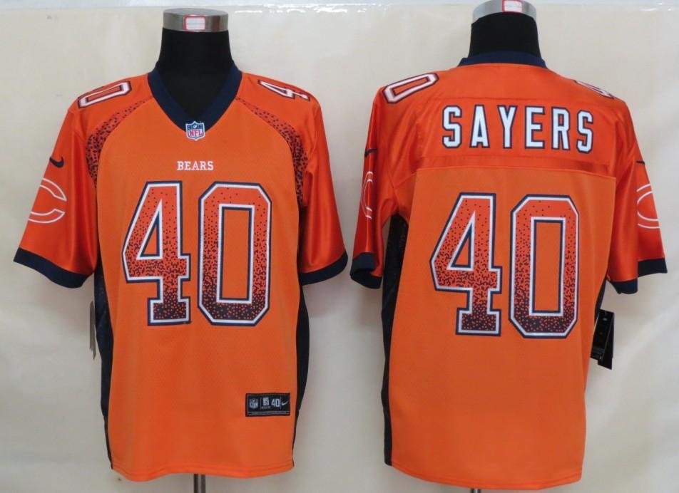 2013 NEW Nike Chicago Bears 40 Sayers Drift Fashion Orange Elite Jerseys