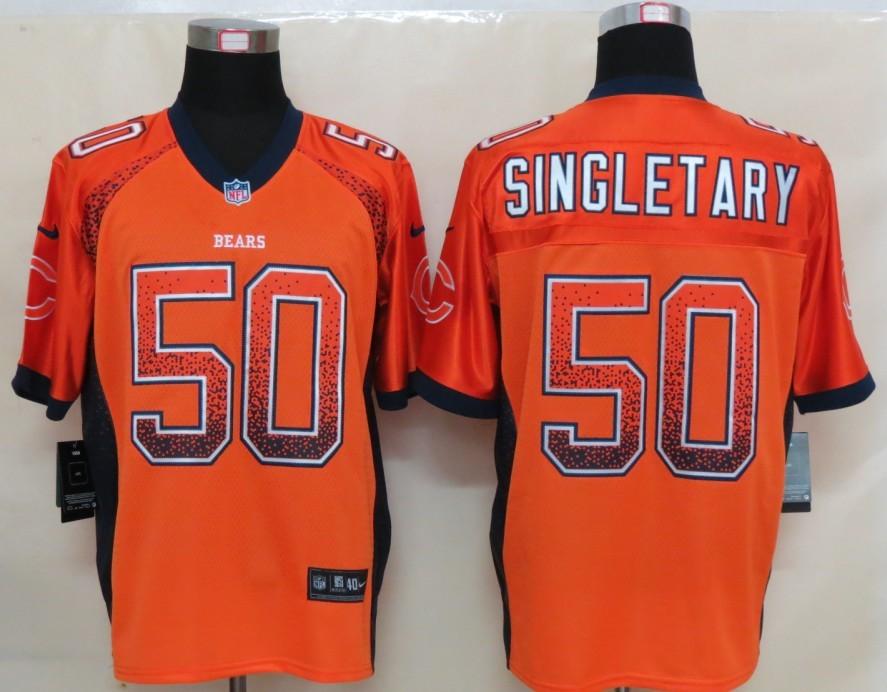 2013 NEW Nike Chicago Bears 50 Singletary Drift Fashion Orange Elite Jerseys