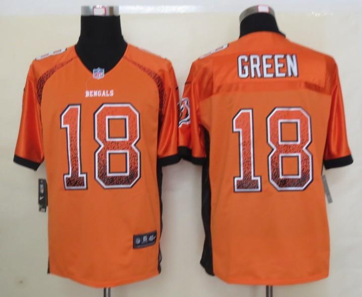 2013 NEW Nike Cincinnati Bengals 18 Green Drift Fashion Orange Elite Jerseys