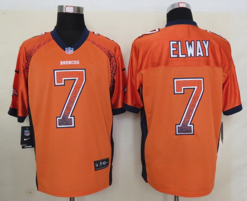 2013 NEW Nike Denver Broncos 7 Elway Drift Fashion Orange Elite Jersey