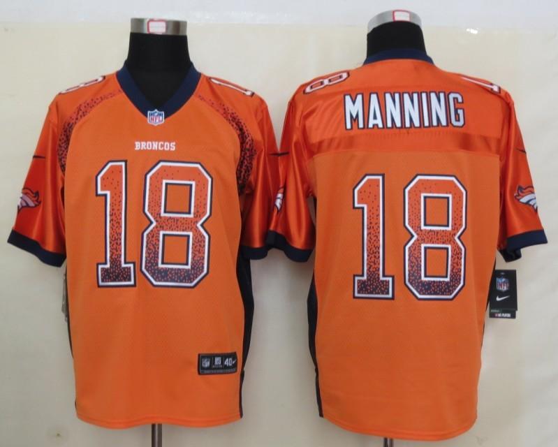 2013 NEW Nike Denver Broncos 18 Manning Drift Fashion Orange Elite Jersey