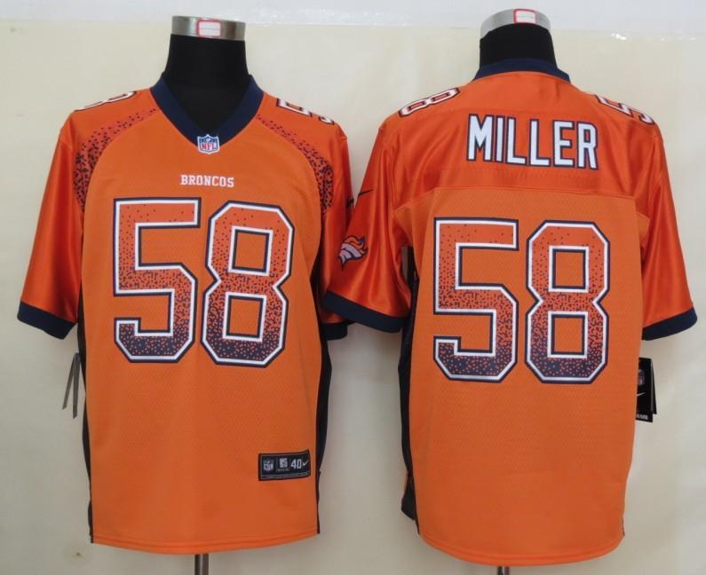 2013 NEW Nike Denver Broncos 58 Miller Drift Fashion Orange Elite Jersey