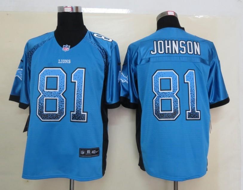 2013 New Nike Detroit Lions 81 Johnson Drift Fashion Blue Elite Jerseys