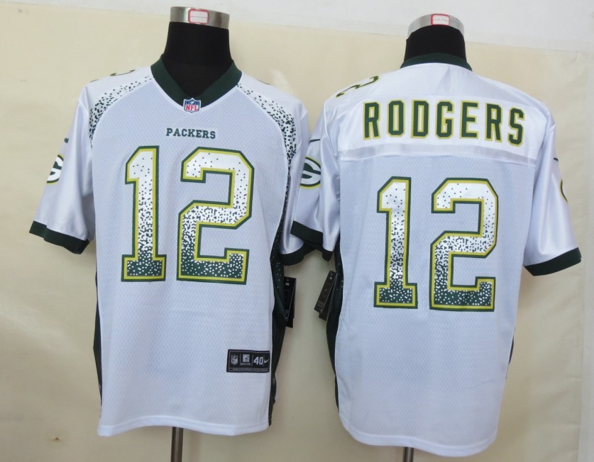 2013 NEW Nike Green Bay Packers 12 Rodgers Drift Fashion White Elite Jerseys
