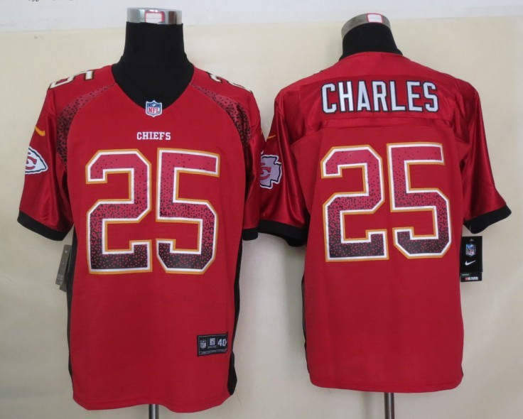 2013 NEW Nike Kansas City Chiefs 25 Charles Drift Fashion Red Elite Jerseys