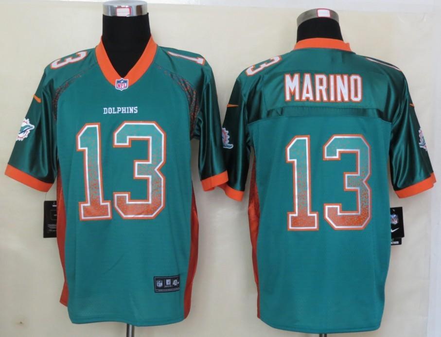 2013 New Nike Miami Dolphins 13 Marino Drift Fashion Green Elite Jerseys