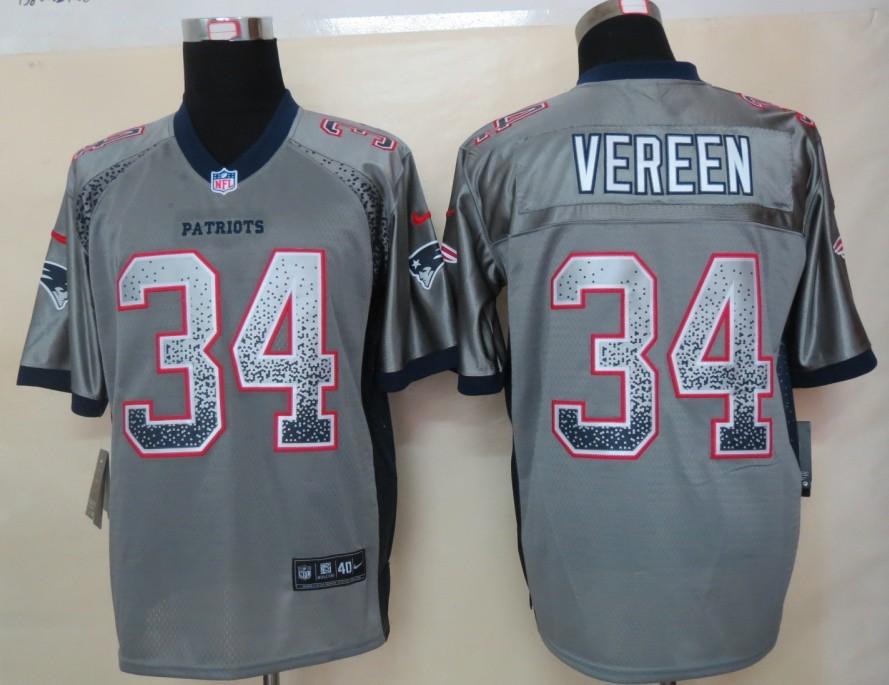 2013 New Nike New England Patriots 34 Vereen Drift Fashion Grey Elite Jerseys