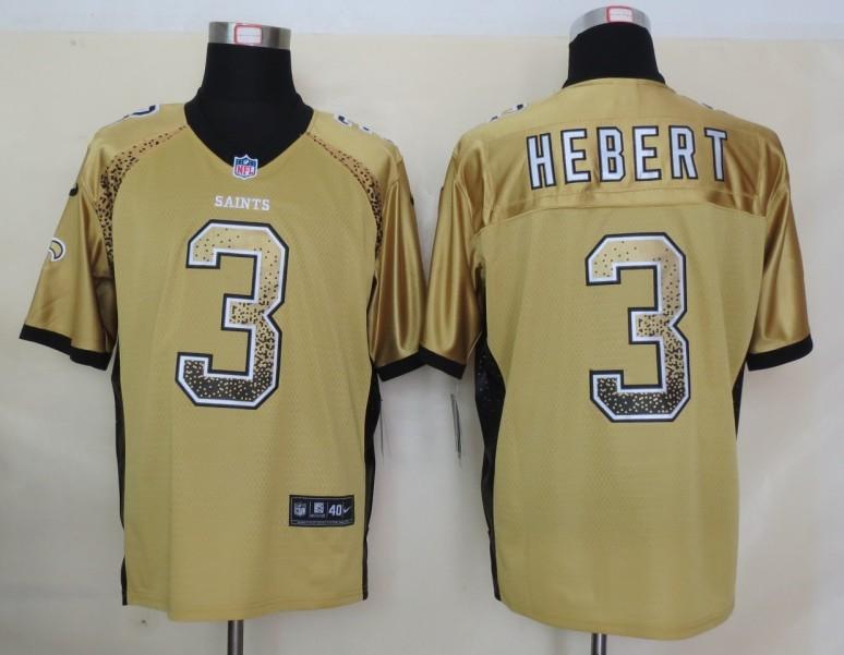 2013 NEW Nike New Orleans Saints 3 Hebert Drift Fashion Gold Elite Jerseys