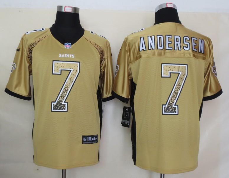 2013 NEW Nike New Orleans Saints 7 Andersen Drift Fashion Gold Elite Jerseys