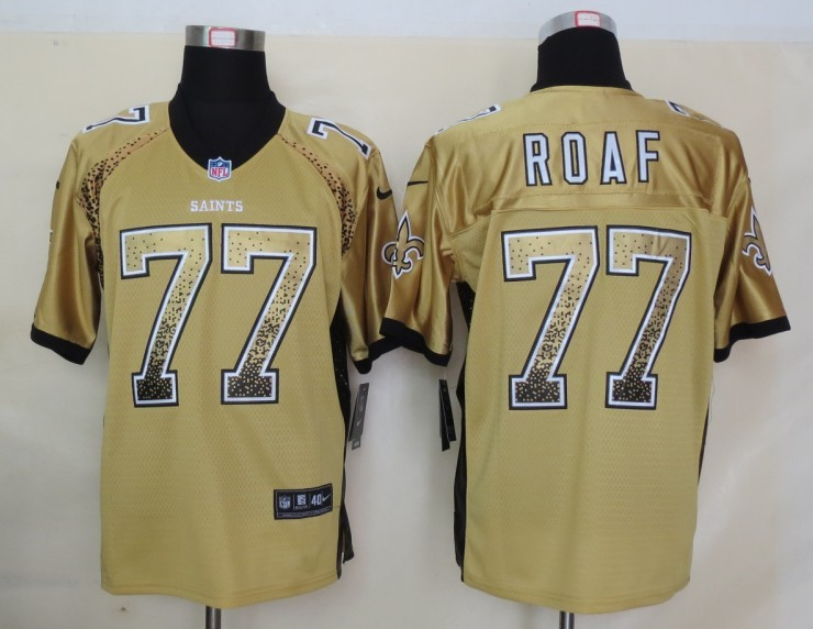 2013 NEW Nike New Orleans Saints 77 Roaf Drift Fashion Gold Elite Jerseys