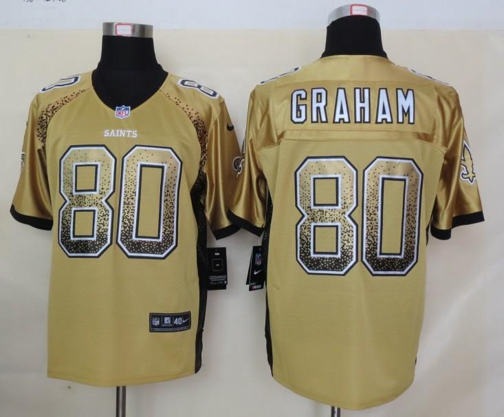 2013 NEW Nike New Orleans Saints 80 Graham Drift Fashion Gold Elite Jerseys