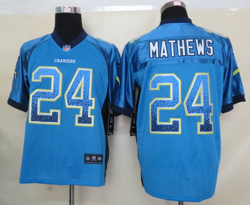 2013 NEW Nike San Diego Charger 24 Mathews Drift Fashion Blue Elite Jerseys
