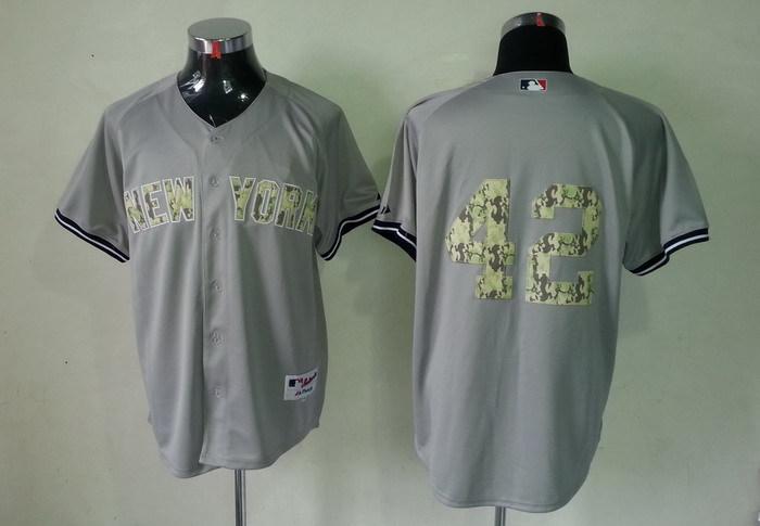 MLB New York Yankees 42 Mariano Rivera Grey Camo Jerseys