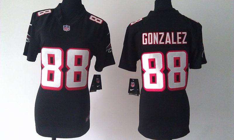 Womens Atlanta Falcons 88 Tony Gonzalez Black Nike Jersey
