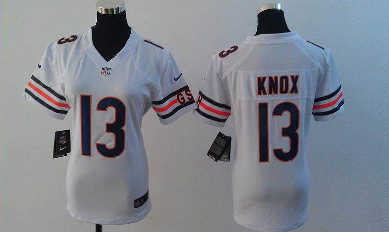 Womens Chicago Bears 13 Johnny Knox White Nike Jerseys
